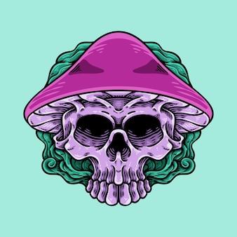 Personnage de mascotte de crâne de champignon psychédélique