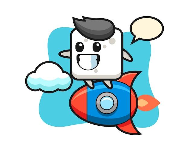 Personnage de mascotte de cube de sucre chevauchant une fusée, style mignon pour t-shirt, autocollant, élément de logo