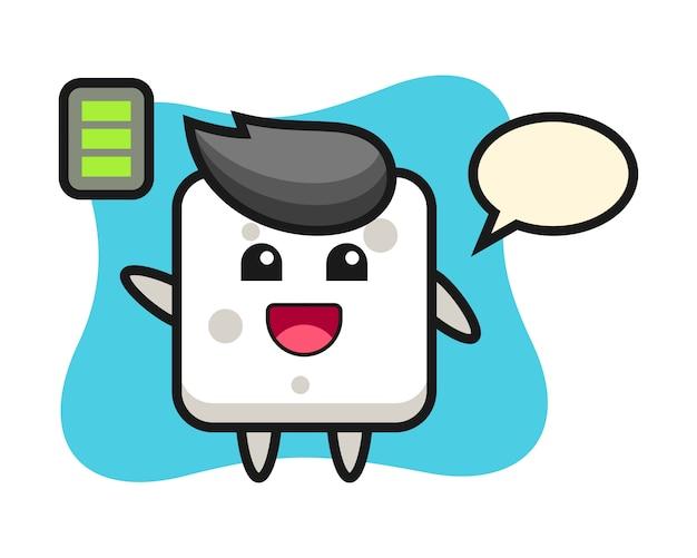 Personnage de mascotte de cube de sucre avec un geste énergique, style mignon pour t-shirt, autocollant, élément de logo