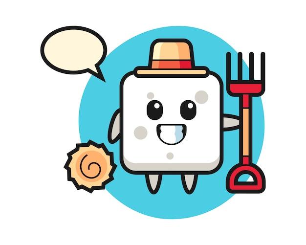 Personnage de mascotte de cube de sucre en tant que fermier, style mignon pour t-shirt, autocollant, élément de logo