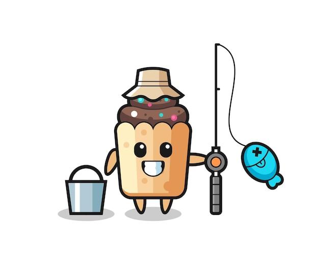 Personnage de mascotte de cupcake en tant que pêcheur, design mignon