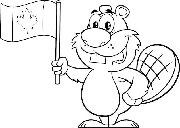 Personnage de mascotte de dessin animé de castor noir et blanc tenant un drapeau canadien. illustration