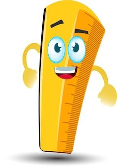 Personnage de mascotte de dessin animé de règle d'école jaune heureux mignon