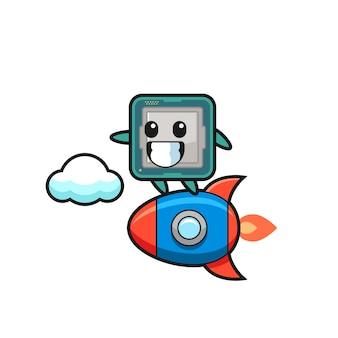 Personnage mascotte du processeur chevauchant une fusée, design de style mignon pour t-shirt, autocollant, élément de logo