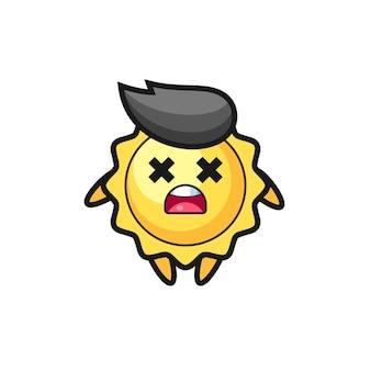 Le personnage de mascotte du soleil mort, design de style mignon pour t-shirt, autocollant, élément de logo