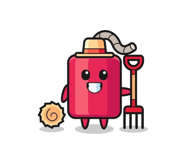 Personnage de mascotte de dynamite en tant qu'agriculteur, design de style mignon pour t-shirt, autocollant, élément de logo