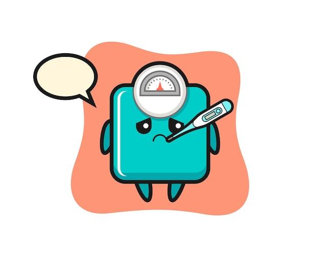 Personnage de mascotte d'échelle de poids avec état de fièvre, design de style mignon pour t-shirt, autocollant, élément de logo