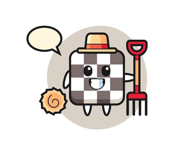 Personnage de mascotte d'échiquier en tant qu'agriculteur, design de style mignon pour t-shirt, autocollant, élément de logo