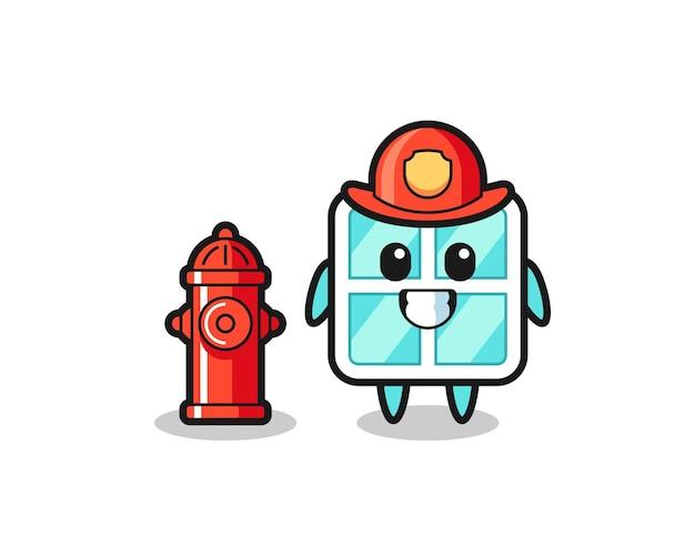 Personnage de mascotte de fenêtre en tant que pompier, design de style mignon pour t-shirt, autocollant, élément de logo