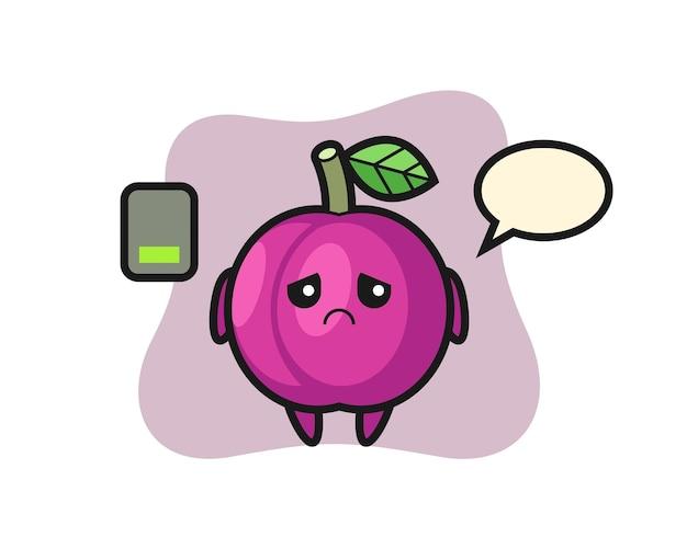 Personnage de mascotte de fruits prune, design de style mignon pour t-shirt, autocollant, élément de logo