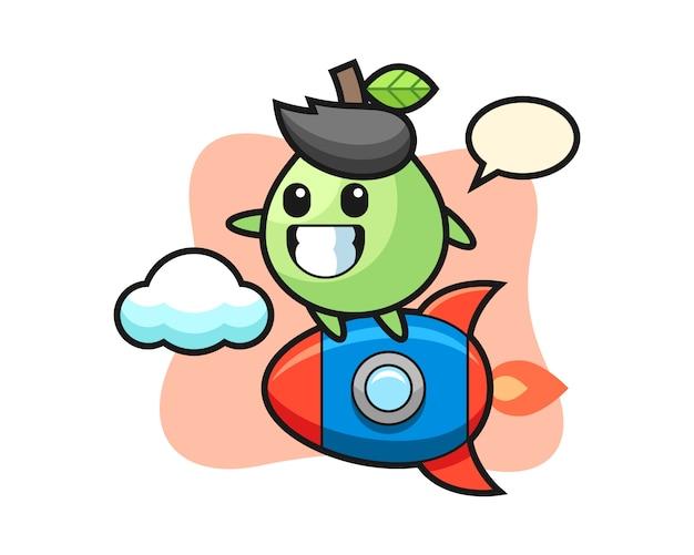 Personnage de mascotte de goyave chevauchant une fusée, style mignon pour t-shirt, autocollant, élément de logo