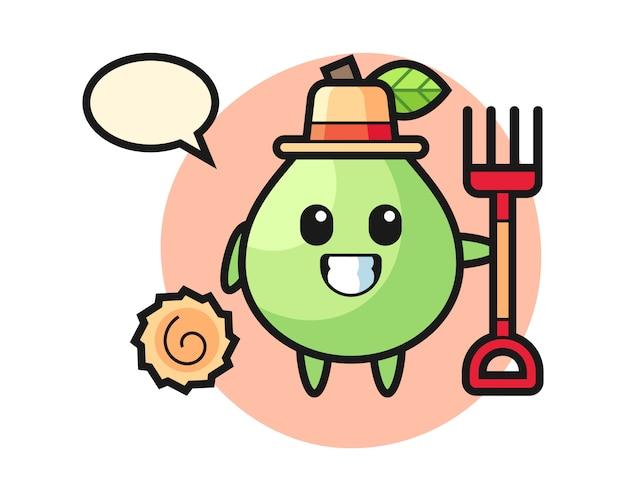 Personnage de mascotte de goyave en tant que fermier, conception de style mignon pour t-shirt, autocollant, élément de logo