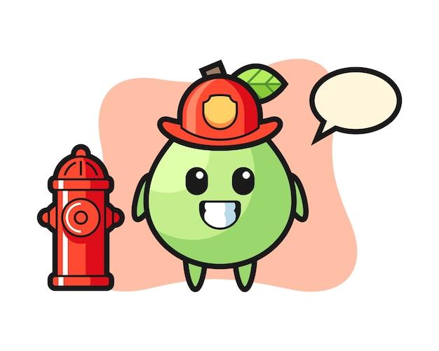 Personnage de mascotte de goyave en tant que pompier, conception de style mignon pour t-shirt, autocollant, élément de logo