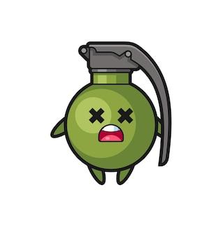 Le personnage de mascotte de grenade morte, design de style mignon pour t-shirt, autocollant, élément de logo