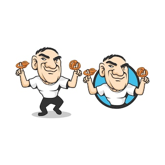 Un personnage mascotte homme bretzel. un homme avec un bretzel à deux mains. le bretzel est un type de pâte cuite au four à base de pâte qui a généralement la forme d'un nœud.