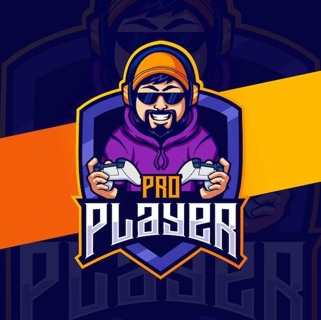 Personnage de mascotte d'homme de joueur de prière pro pour les conceptions de logo esport de jeu
