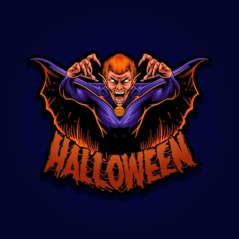 Personnage de mascotte illustration vampire halloween