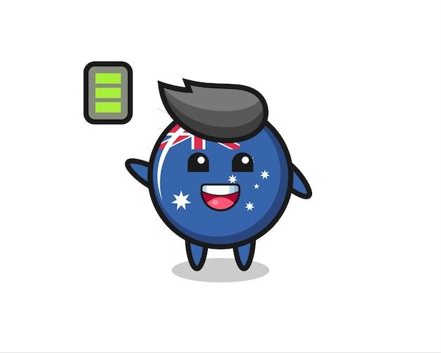 Personnage de mascotte d'insigne de drapeau australien avec un geste énergique, design de style mignon pour t-shirt, autocollant, élément de logo