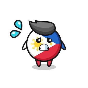 Personnage de mascotte d'insigne de drapeau des philippines avec un geste effrayé, design de style mignon pour t-shirt, autocollant, élément de logo
