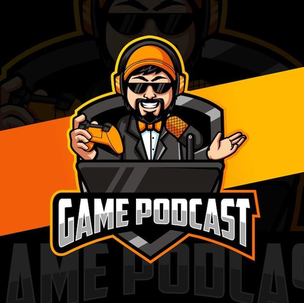 Personnage de mascotte de joueur de podcast de jeu pour les conceptions de logo de jeu esport