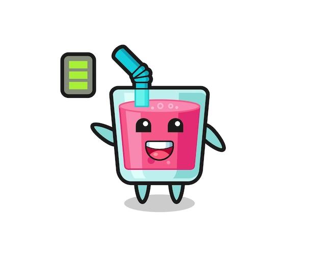 Personnage de mascotte de jus de fraise avec un geste énergique, design de style mignon pour t-shirt, autocollant, élément de logo