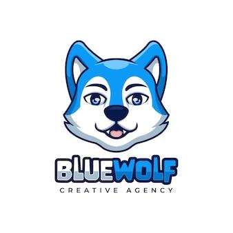 Personnage de mascotte de logo de dessin animé créatif loup bleu