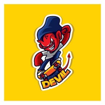 Personnage de mascotte logo patineur diable