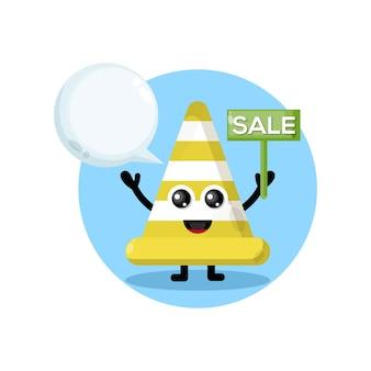 Personnage de mascotte de logo de vente de cône de signalisation