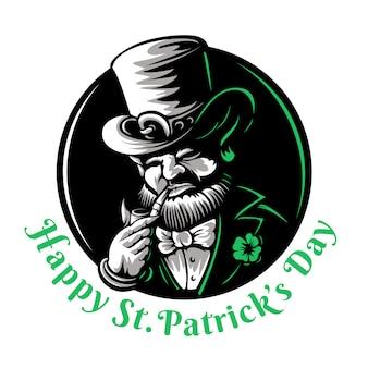 Personnage de mascotte lutin illustration gravée pour la saint-patrick gravure style linogravure folklore irlandais traditionnel nain mythologie celtique avec chapeau trèfle et pipe sur fond noir