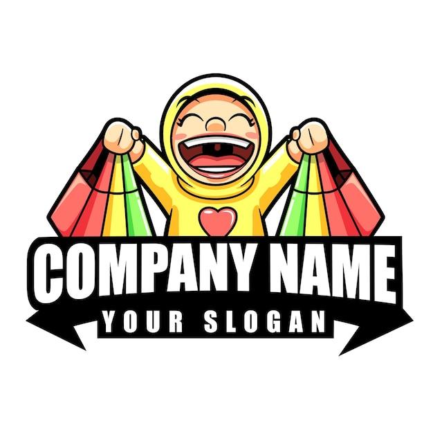 Personnage de mascotte de magasin de logo