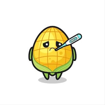 Personnage de mascotte de maïs avec fièvre, design de style mignon pour t-shirt, autocollant, élément de logo