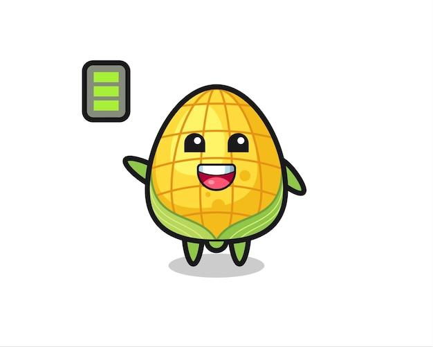 Personnage de mascotte de maïs avec un geste énergique, design de style mignon pour t-shirt, autocollant, élément de logo