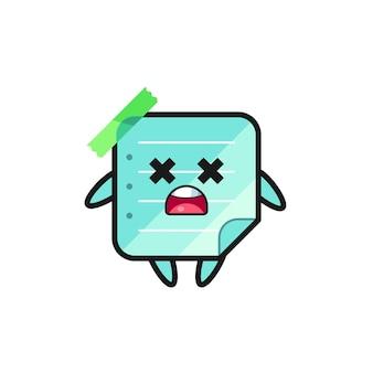 Le personnage de mascotte de notes autocollantes bleues mortes, design de style mignon pour t-shirt, autocollant, élément de logo