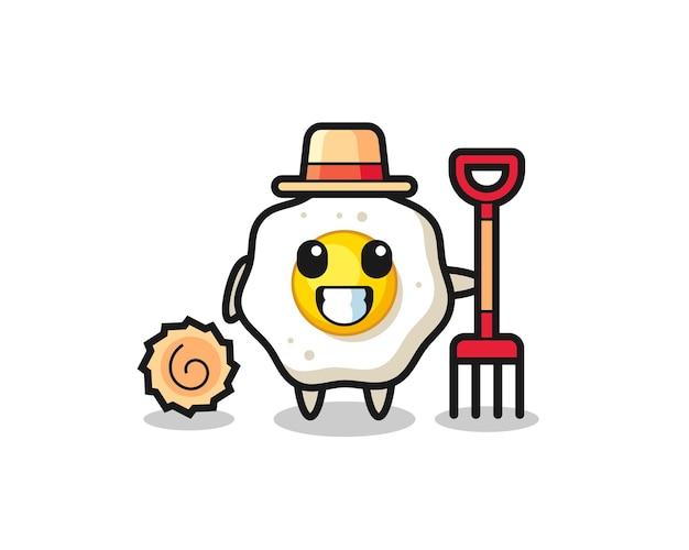 Personnage de mascotte d'oeuf au plat en tant qu'agriculteur, design de style mignon pour t-shirt, autocollant, élément de logo