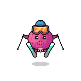 Personnage de mascotte d'oignon en tant que joueur de ski, design de style mignon pour t-shirt, autocollant, élément de logo