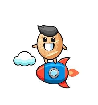 Personnage de mascotte de pain français chevauchant une fusée, design mignon