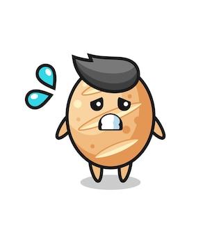 Personnage de mascotte de pain français avec un geste effrayé, design mignon