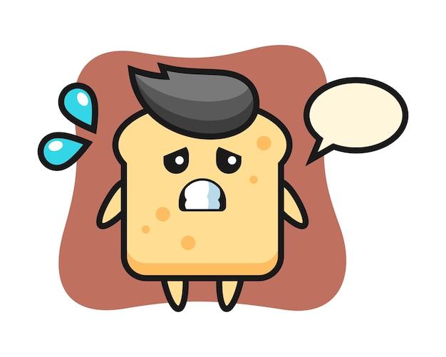 Personnage de mascotte de pain avec un geste effrayé