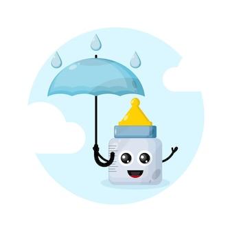 Personnage de mascotte de parapluie bébé sucette