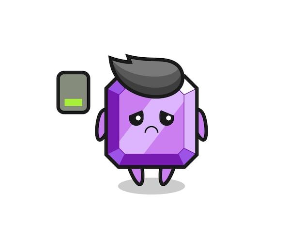 Personnage de mascotte de pierres précieuses violettes faisant un geste fatigué, design de style mignon pour t-shirt, autocollant, élément de logo