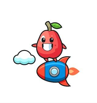 Personnage de mascotte de pomme d'eau chevauchant une fusée, design de style mignon pour t-shirt, autocollant, élément de logo