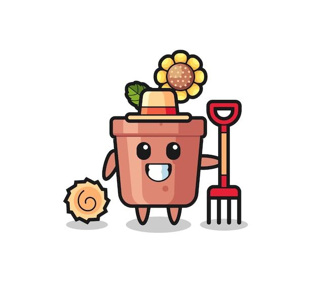 Personnage de mascotte de pot de tournesol en tant qu'agriculteur, design de style mignon pour t-shirt, autocollant, élément de logo