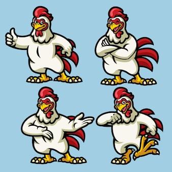 Personnage de mascotte de poulet dans l'ensemble