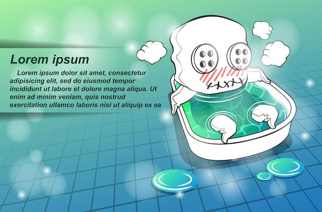 Le personnage de la mascotte prend un bain.