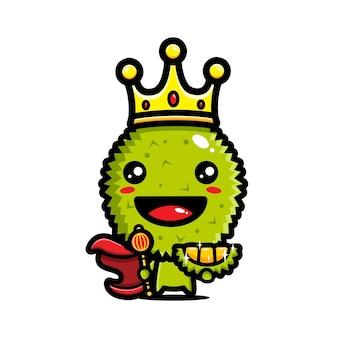 Personnage de mascotte de roi durian mignon