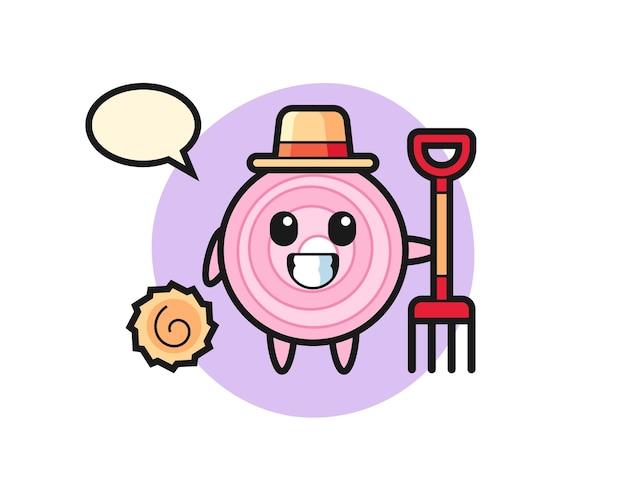 Personnage de mascotte de rondelles d'oignon en tant qu'agriculteur, design de style mignon pour t-shirt, autocollant, élément de logo