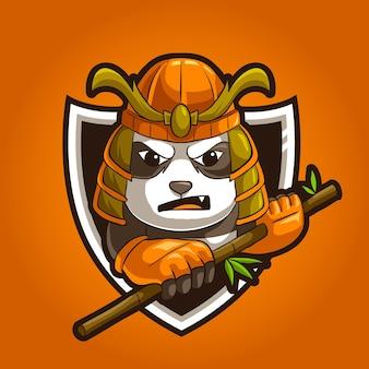 Personnage mascotte ronin en colère panda