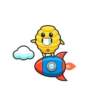 Personnage mascotte de la ruche d'abeilles chevauchant une fusée, design mignon