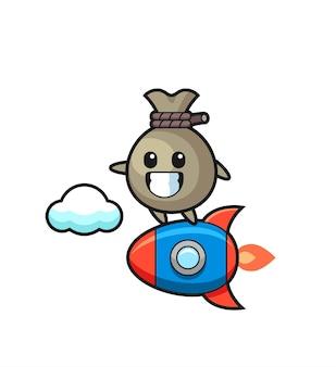Personnage de mascotte de sac d'argent chevauchant une fusée, design de style mignon pour t-shirt, autocollant, élément de logo