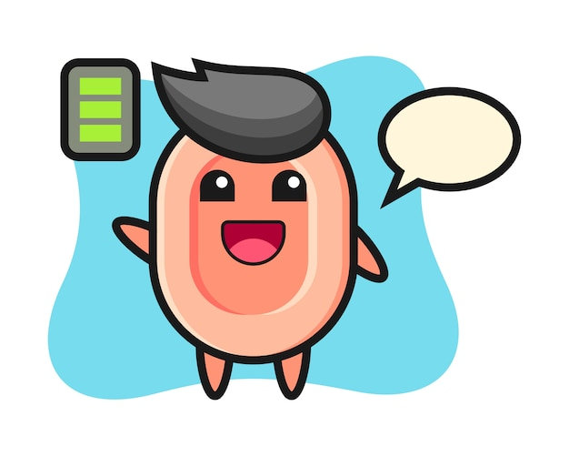 Personnage de mascotte de savon avec un geste énergique, style mignon pour t-shirt, autocollant, élément de logo